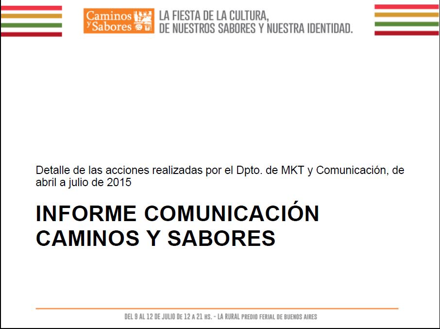 Informe de Comunicación CyS